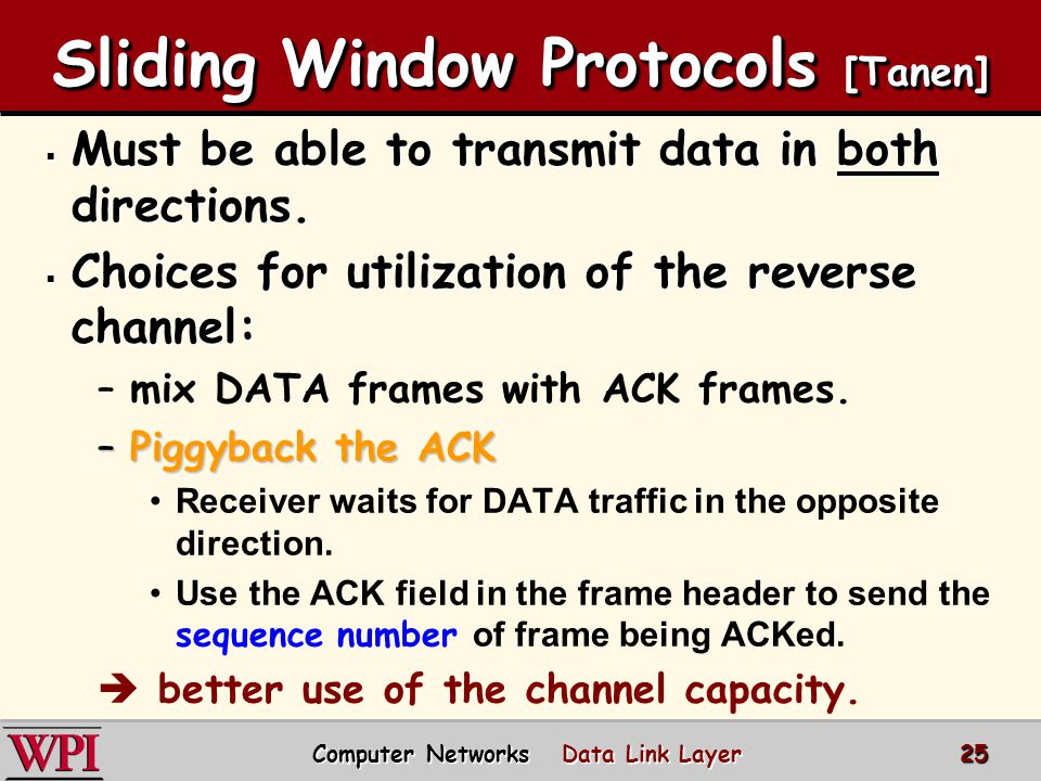 Sliding Window Protocols [Tanen]